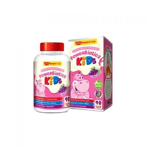 VitaRealm PowerBiotics Kids Blueberry Flavor - 90 Chewable Tablets