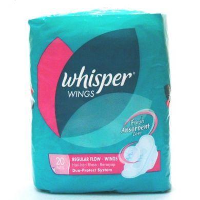 Whisper Wings Regular Flow - 20 Pads