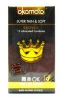 Okamoto Crown Super Thin & Soft - 12 Lubricated Condoms